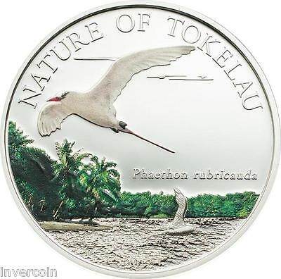 2012 Nature of Tokelau $5 Dollar Color Red Tailed Tropicbird Proof Silver Coin