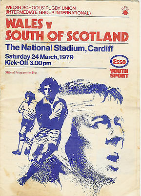 WALES v SOUTH OF SCOTLAND SCHOOLS UNDER 16 1979 RUGBY PROGRAMME