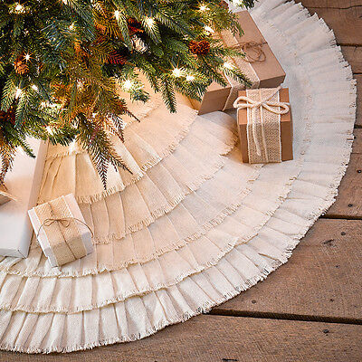 "48"" Burlap Creme Ruffled Christmas Tree Skirt by VHC Brands"