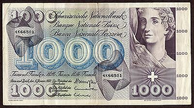 SWITZERLAND, SWISS, 1000 FRANKEN HUGE BANKNOTE, 1970, #P-SWI52i