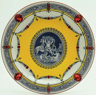 1905 Wedgwood Etruria Plate, Cipriani Collection, Rare Yellow, Blue & Rust Color