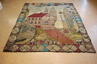 Circa 1900's ANTIQUE FOLK ART AMERICAN HOOKED RUG 6x7 VERY RARE RUG