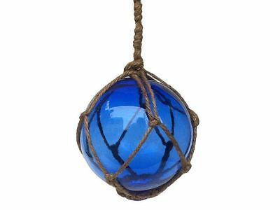 """Blue Japanese Glass Ball Fishing Float With Brown Netting Decoration 4""""- Glass F"""