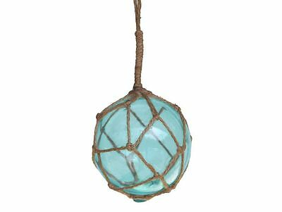 """Light Blue Japanese Glass Ball Fishing Float With Brown Netting Decoration 4""""- G"""
