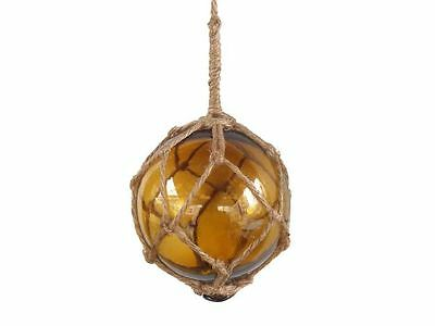 """Amber Japanese Glass Ball Fishing Float With Brown Netting Decoration 4""""- Glass"""