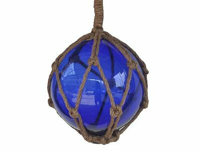 """Blue Japanese Glass Ball Fishing Float With Brown Netting Decoration 6""""- Glass F"""