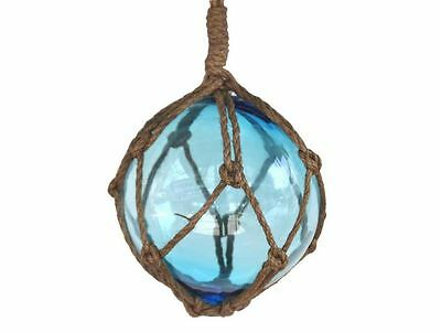 """Light Blue Japanese Glass Ball Fishing Float With Brown Netting Decoration 6""""- G"""