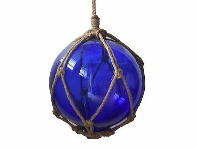 """Blue Japanese Glass Ball Fishing Float With Brown Netting Decoration 8""""- Glass F"""
