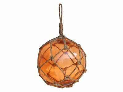 """Orange Japanese Glass Ball Fishing Float With Brown Netting Decoration 12""""- Glas"""