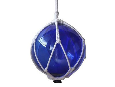 """Blue Japanese Glass Ball Fishing Float With White Netting Decoration 8""""- Glass F"""