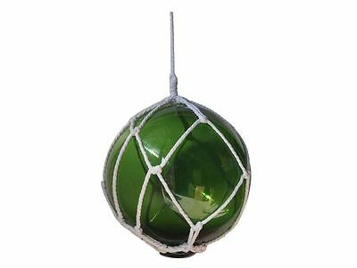 """Green Japanese Glass Ball Fishing Float With White Netting Decoration 10""""- Glass"""