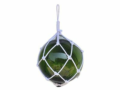 """Green Japanese Glass Ball Fishing Float With White Netting Decoration 12""""- Glass"""