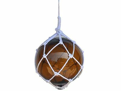 """Amber Japanese Glass Ball Fishing Float With White Netting Decoration 12""""- Glass"""