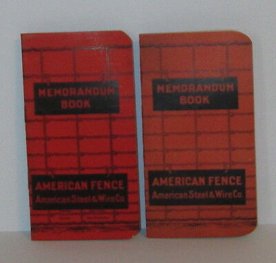 1905 1908 American Fence Steel & Wire Advertising Memo Note Book Mint Nos (2)