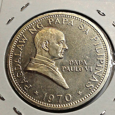 Philippines 1970 One Peso Pope Visit Unc  Crown Coin