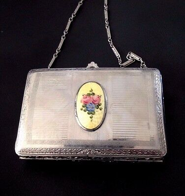 Finberg Silver Purse, Floral Vanity-Make-Up-Rouge-Compact-Mirror-Lipstick