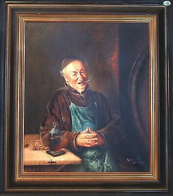 Fine Antique Original 19th Century Russian Priest Oil on Canvas Signed Painting