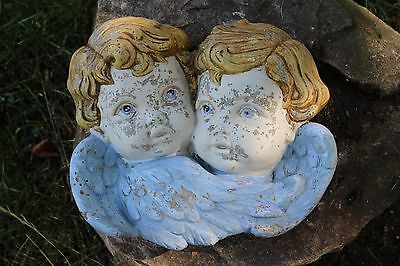 Child Angel Cherub Plaque Vtg Cement/concrete Statue Old Weathered Lawn Decor