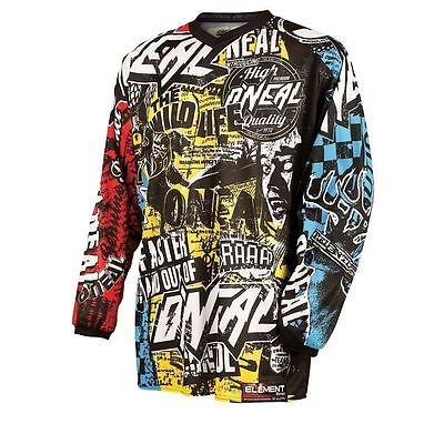 Oneal MX Element Racewear Motocross Adult Jersey Wild Black/Multi