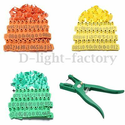 3 Color Large Livestock Sheep Ear Tag 1-100 Number ID Lables + 1 x Tag Plier Set