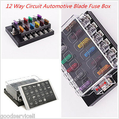 12-32V Universal Car 12 Way Circuit Standard Ato Blade Fuse Box Block Holder