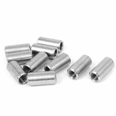 M8x1.25mm Threaded Sleeve Rod Bar 304 Stainless Steel Round Connector Nuts 10pcs