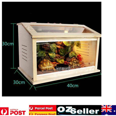 Glass See Through Window Reptlle Enclosure Hermit Crab Tank Habitat Wooden Cage