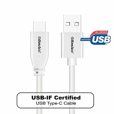 BasAcc 3.3FT USB-C Type C Data Sync Charging Cable Cord White USB-IF CERTIFIED