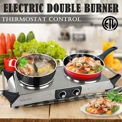 1800W Kitchen Portable Electric Double Burner Cast Iron Countertop Cooktop Stove
