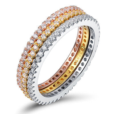 Stackable Stunning Eternity CZ Engagment Wedding Bridal Ring 18K Gold Plated