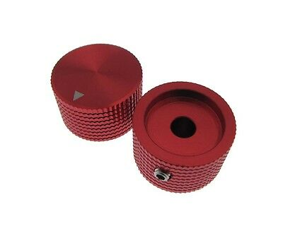HQ 6mm Hole Dia Aluminum Solid Knob Cap for Flatted Rotary Potentiomete - Red