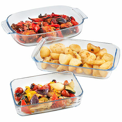 VonShef 3 Piece Glass Oven Roasting Baking Casserole Lasagne Dish Tray Set
