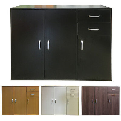 Sideboard Black White Beech Storage Cabinet Wooden Cupboard Buffet Chest Drawers