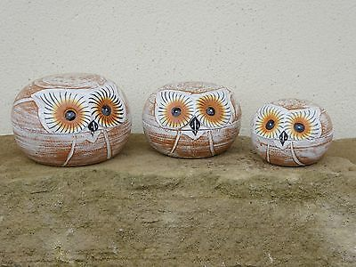 Hand Made And Painted Owl Box Set Of Three Trinket Box CHOOSE COLOUR..