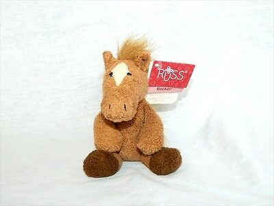 "Russ Luv Pets 5"" plush Chamois Feel Brown Horse ROCKER 21101 New w Tag stuffed"