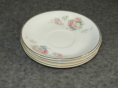 """Ant. W.S George Derwood Pink/White Rose Pattern - 5  3/4"""" Saucers  (4)"""