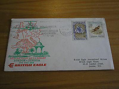 "1966 Tunisia ""First Flight"" BRITISH EAGLE AIRLINES - LONDON to TUNISIA Cover"