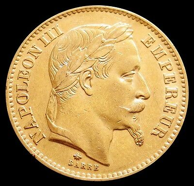 1868 A Gold France 20 Francs Napoleon Iii Coin About Uncirculated Condition