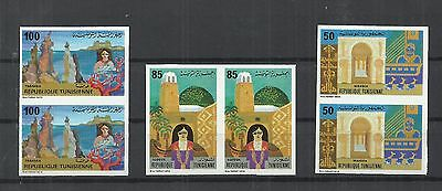 1981- Imperforated pair- Touristic Sites Mahdia Tabarka Tozeur Mosque fish boat