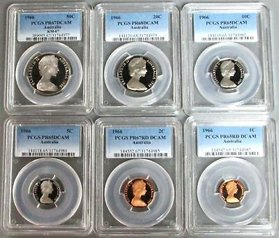1966 Australia 6 Coin Proof Set Ngc Certified Proof 65 - 68 Deep Cameo's