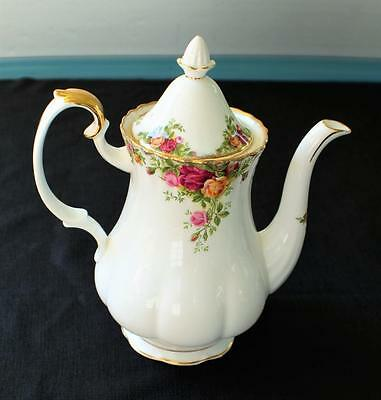 "Vintag ROYAL ALBERT Bone China England OLD COUNTRY ROSE 9 1/2""h 5 Cup Coffee Pot"