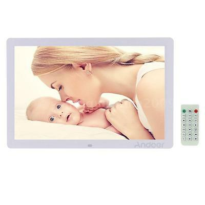 "US 17"" HD 1080P Digital Photo Picture Frame Alarm Clock Movie Player Remote W9X4"