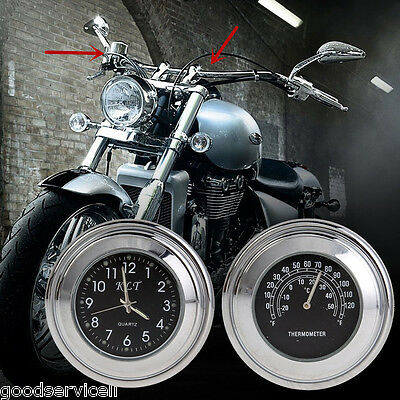 New 7/8'' 1inch Motorcycle Bikes Handlebar Mount Dial Clock and ThermometerTemp