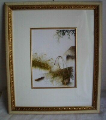 Vintage Vietnamese Silk Embroidered Picture Gold  French Cream Frame Embroidery