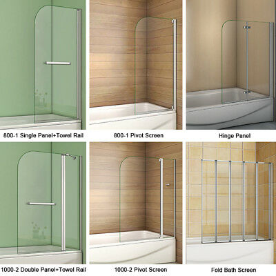 Aica Pivot/Hinge/Folding Screen Over Bath Shower Door Panel 1400mm Glass & Seal
