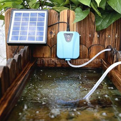 Solar Powered AC DC Aquarium Air Pump Silent Fish Oxygen Pump USB 5V 2L/min Q8X8