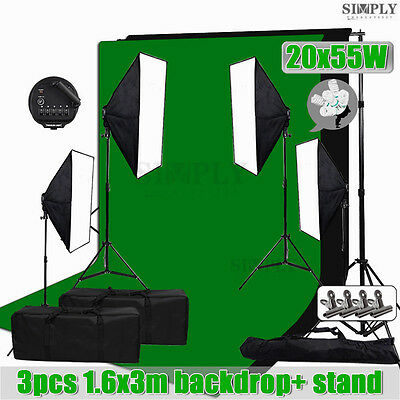 Photo Studio Video Continuous Softbox Soft box Lighting Light Stand Backrop Kit
