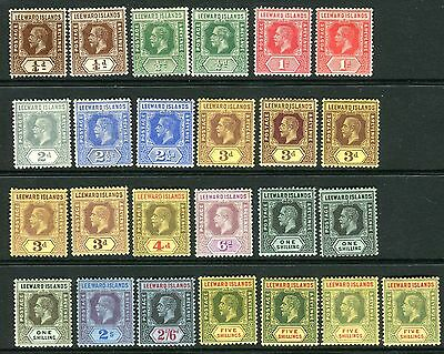 LEEWARD ISLANDS- 1912 mounted mint set to 5/- including listed shades Sg 46-57c