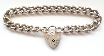 Beautiful 925 Solid Sterling Silver Thick Curb Chain Bracelet Lock Pendent Heavy