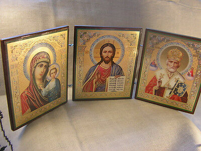 "Russian Ukrainian ORTHODOX Triptych ICON Lord Jesus Christ Mother of God 5""x13"""